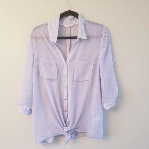 Women's Sheer White & Blue Striped Button Blouse